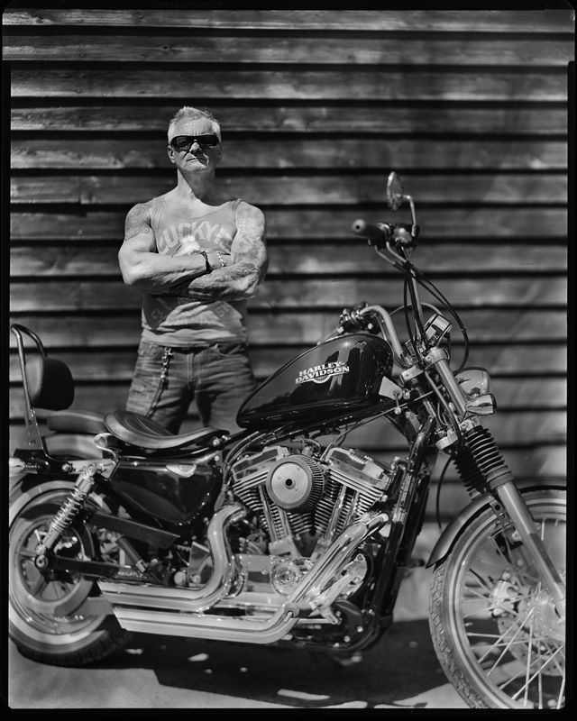 British bikers photography project, large format portraits
