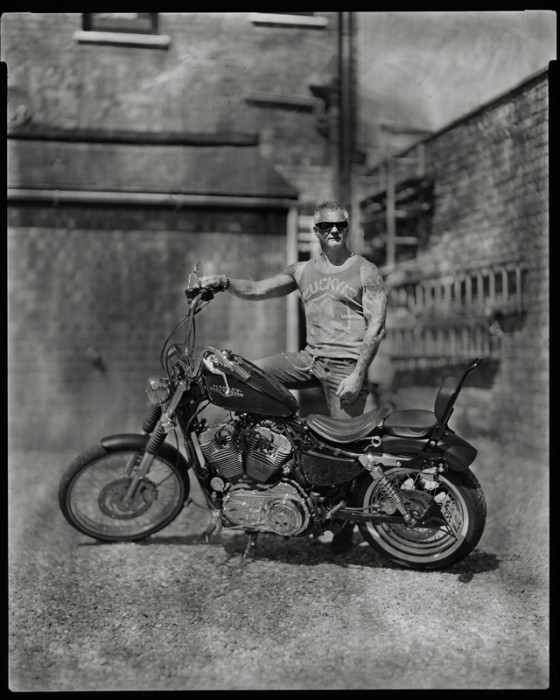 British bikers photography, large format portrait, Birmingham, London, Harley Davidson, Sportster, Chrome Molly